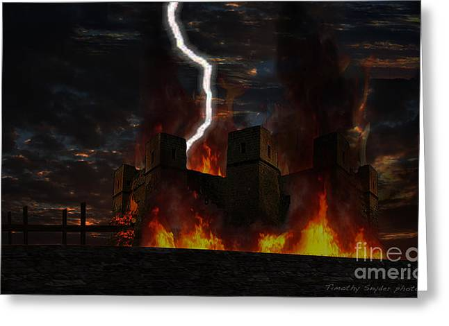 Castles Burning Greeting Cards - Burning Keep Greeting Card by Timothy Snyder