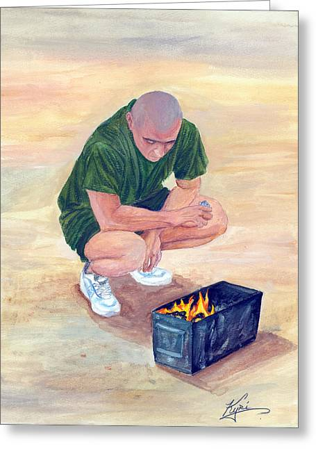 Iraq Drawings Greeting Cards - Burning Letters from Home Greeting Card by Annette Redman