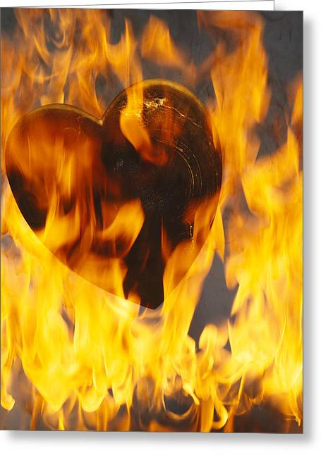Recently Sold -  - Engulfing Greeting Cards - Burning Love c1978 Greeting Card by Paul Ashby
