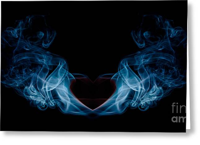 Burning Love Greeting Cards - Burning Love Smoke Abstract Greeting Card by Edward Fielding