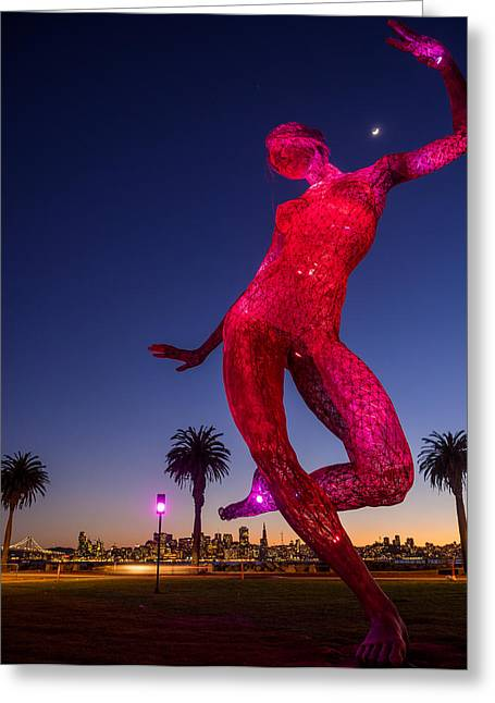 Burning Statue Greeting Cards - Burning Man Bessie at Treasure Island Greeting Card by Beau Rogers