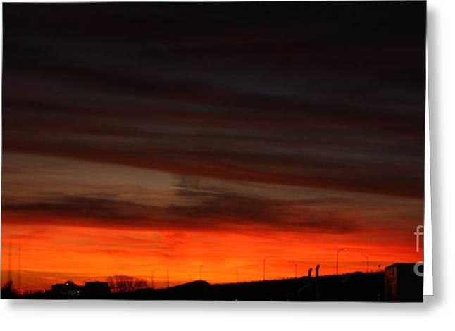Burning Night Time Sky Greeting Card by John Telfer