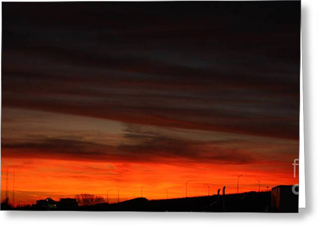 Burning Night Time Sky Greeting Card by JOHN TELFER