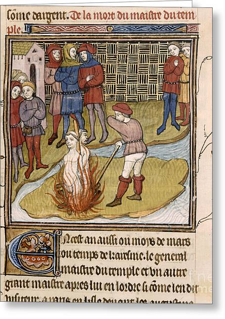 Knighthood Greeting Cards - Burning Of Templar Grand Master Greeting Card by British Library