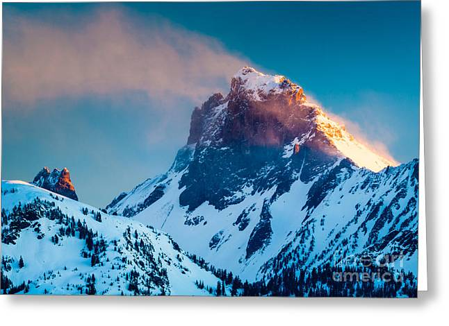 North Cascades Greeting Cards - Burning Peak Greeting Card by Inge Johnsson