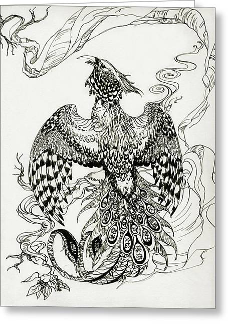 Renewing Drawings Greeting Cards - Burning Phoenix Greeting Card by Lealo Bactorist