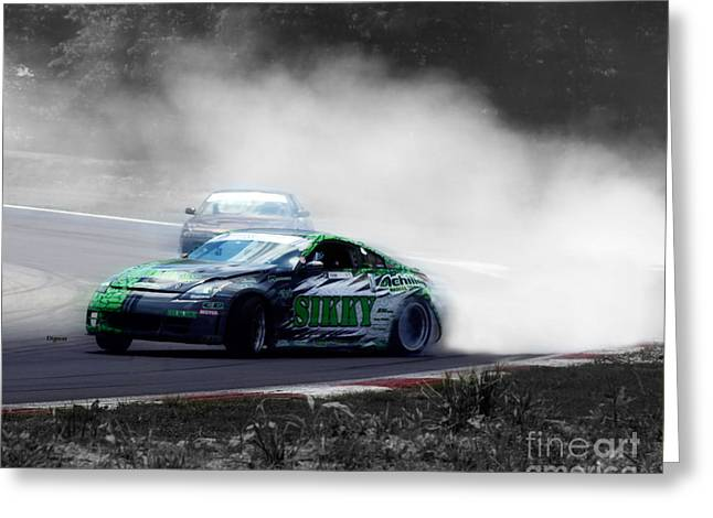 Action Sports Digital Greeting Cards - Burning Rubber to Ashes  Greeting Card by Steven  Digman
