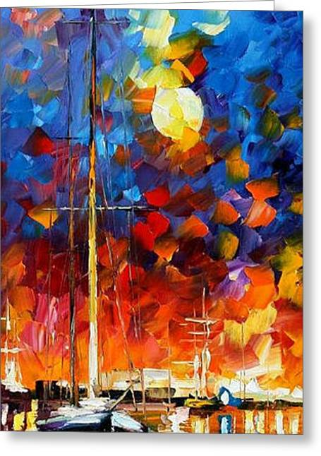 Popular Art Greeting Cards - Burning Sky 2 - PALETTE KNIFE Oil Painting On Canvas By Leonid Afremov Greeting Card by Leonid Afremov