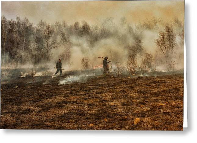 Maine Agriculture Greeting Cards - Burning The Fields Greeting Card by Susan Capuano