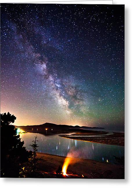 Bonfire Night Greeting Cards - Burning the Milky Way Greeting Card by Darren  White
