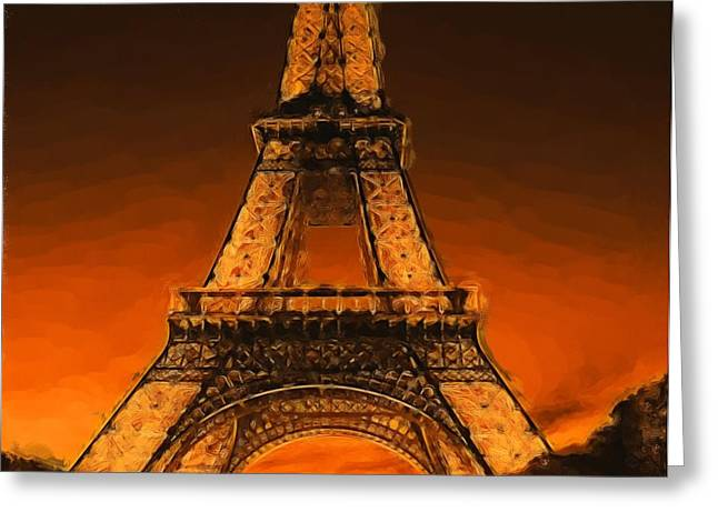 Russett Greeting Cards - Burning Tower Greeting Card by Jenny Hudson