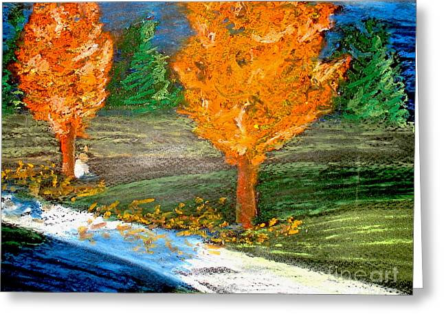 Fall Colors Pastels Greeting Cards - Burning Trees Greeting Card by Ryan Burton