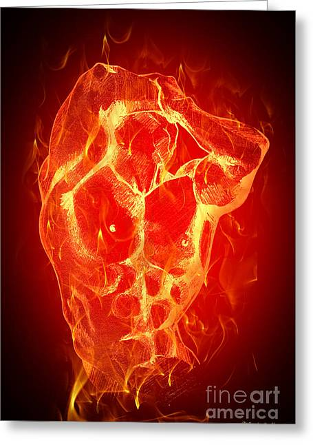 Bodybuilder Digital Greeting Cards - Burning Up  Greeting Card by Mark Ashkenazi