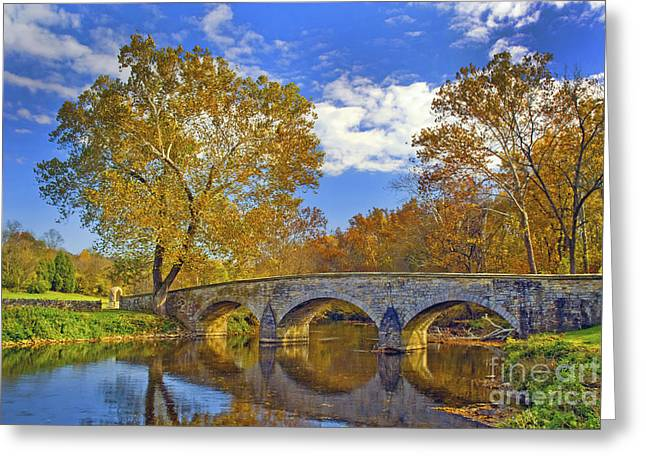 Impressions Of Light Greeting Cards - Burnside Bridge at Antietam Greeting Card by Paul W Faust -  Impressions of Light