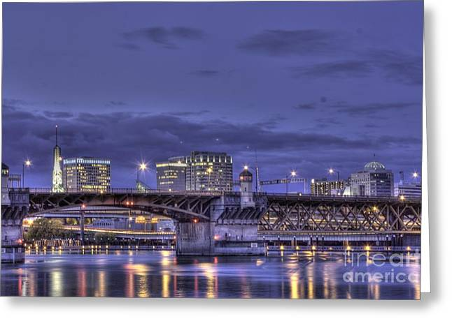 Convention Greeting Cards - Burnside Bridge by night Greeting Card by David Bearden