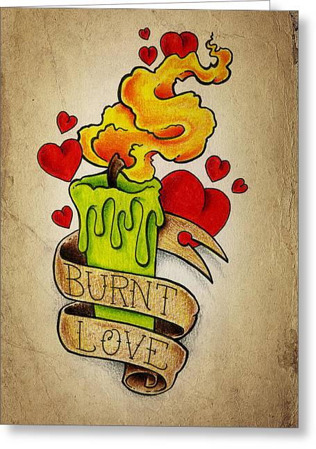 Drawing Color Pencils Drawings Greeting Cards - Burnt Love Greeting Card by Samuel Whitton