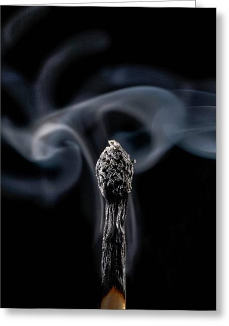 Burnt Matchstick And Smoke Greeting Card by Science Photo Library