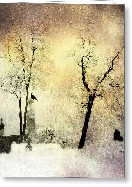 Crows On Tombstones Greeting Cards - Burnt Sky Greeting Card by Gothicolors Donna Snyder