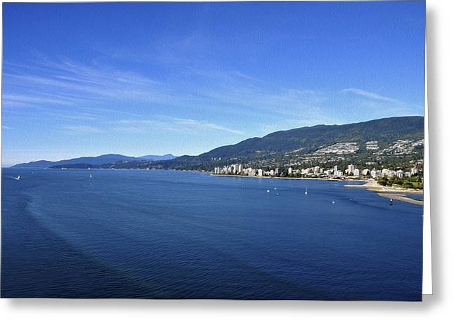 Burrard Inlet Vancouver Greeting Card by Aged Pixel