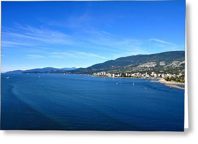 Burrard Inlet Greeting Cards - Burrard Inlet Vancouver Greeting Card by Aged Pixel
