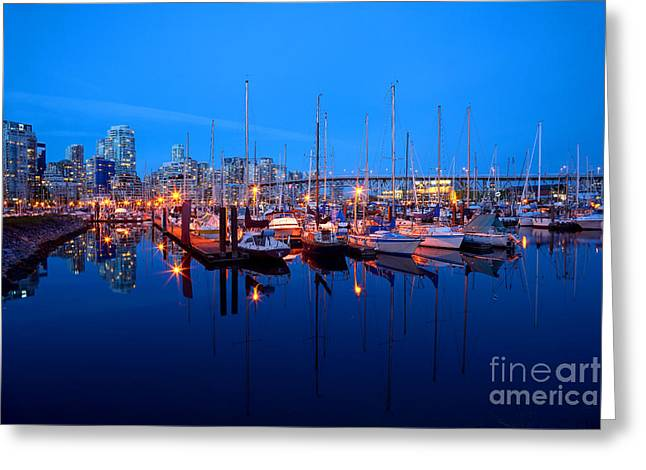 Vancouver At Night Greeting Cards - Burrard Marina At Dusk Greeting Card by Terry Elniski