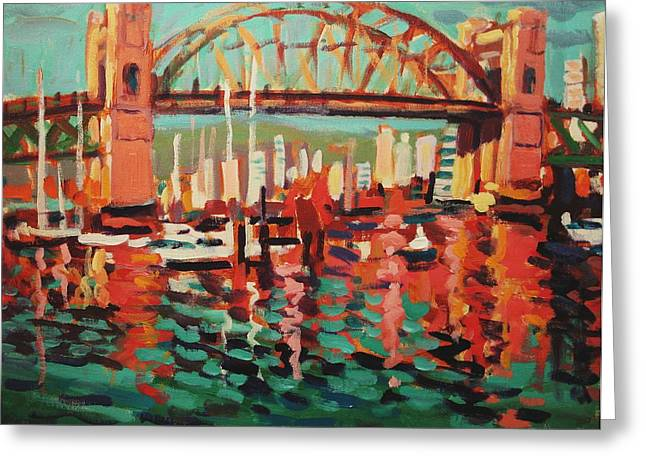 Pacific Northwest Sculptures Greeting Cards - Burrard St. Bridge Greeting Card by Brian Simons