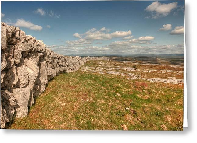 Irish Farm Greeting Cards - Burren Stone Wall Greeting Card by John Quinn