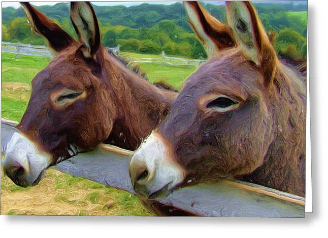 Donkey Greeting Cards - Burro Gang Greeting Card by Ayse Deniz
