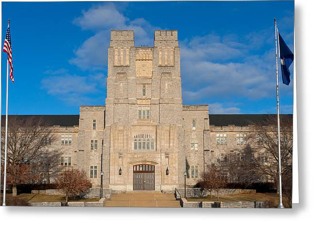 Public Administration Greeting Cards - Burruss Hall at Virginia Tech Greeting Card by Melinda Fawver