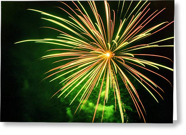 Pyrotechnics Greeting Cards - 4th of July Fireworks 6 Greeting Card by Howard Tenke