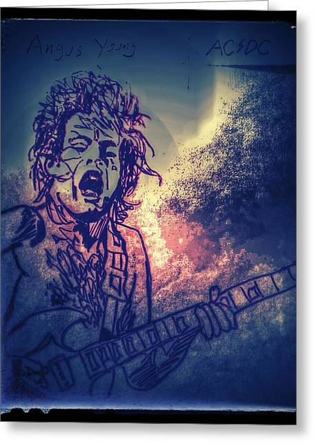 Famous Person Mixed Media Greeting Cards - Burst of Angus Young Greeting Card by Edward Pebworth