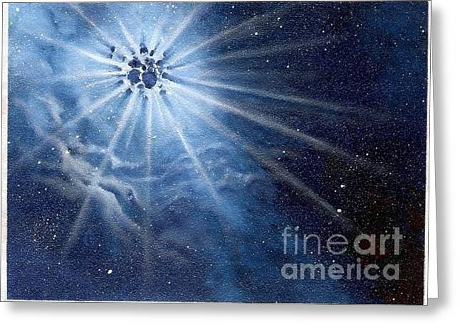 Outerspace Greeting Cards - Burst of light Greeting Card by Murphy Elliott