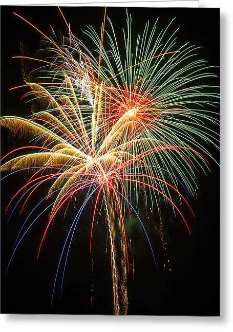 Pyrotechnics Greeting Cards - Bursting in air Greeting Card by Garry Gay