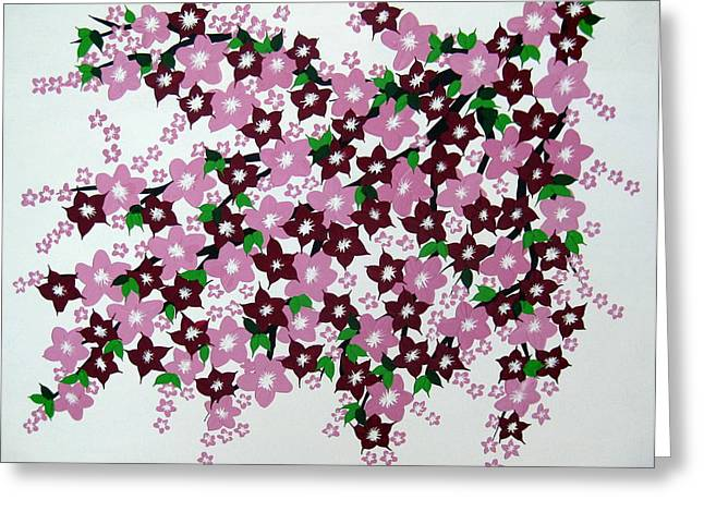 Cherry Blossoms Paintings Greeting Cards - Bursting into Bloom Greeting Card by Cathy Jacobs