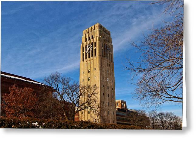 Burton Greeting Cards - Burton Memorial Tower Greeting Card by Rachel Cohen