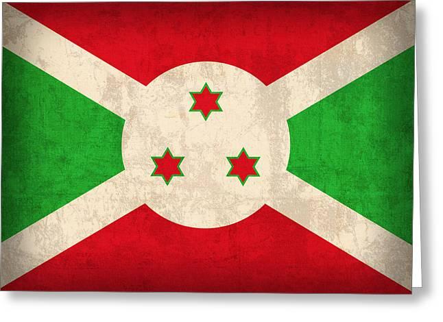 National Mixed Media Greeting Cards - Burundi Flag Vintage Distressed Finish Greeting Card by Design Turnpike