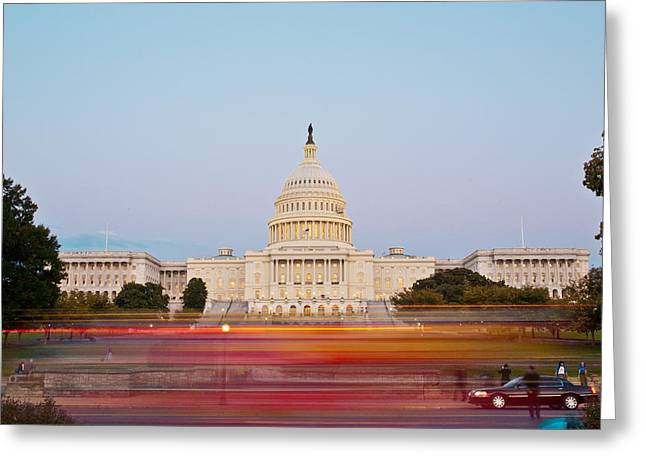 Urban Buildings Glass Greeting Cards - Bus Blur and U.S.Capitol Building Greeting Card by Richard Nowitz