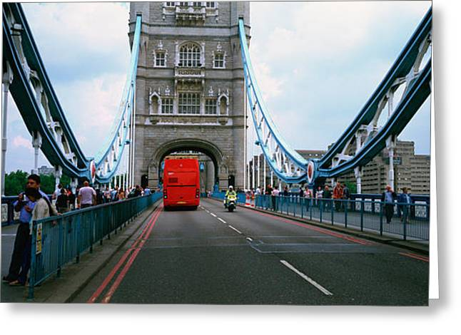 Sidewalks. Arches Greeting Cards - Bus On A Bridge, London Bridge, London Greeting Card by Panoramic Images