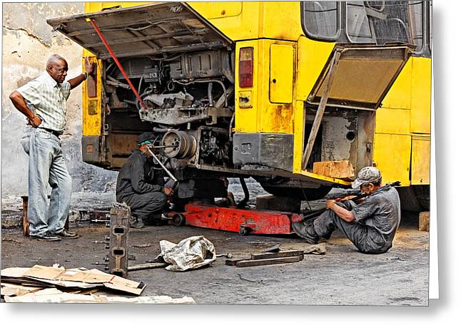 Working Conditions Greeting Cards - Bus Repairs Greeting Card by Dawn Currie