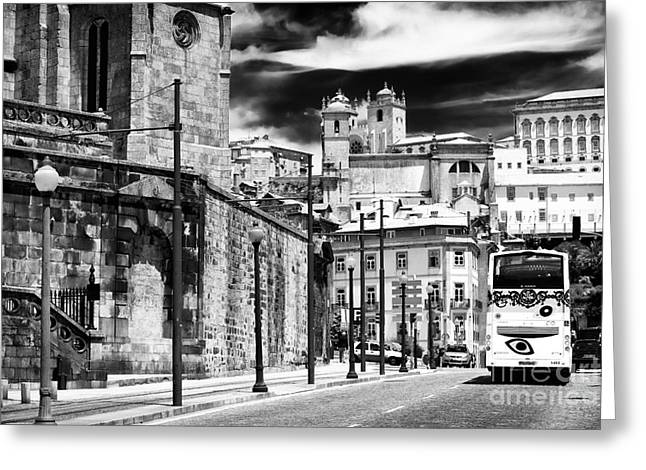 Bus Print Greeting Cards - Bus Ride in Porto Greeting Card by John Rizzuto