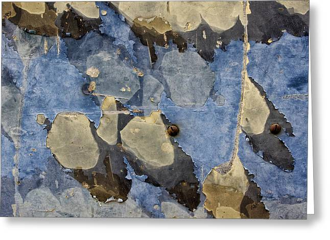 Beige Abstract Greeting Cards - Bus Salvage Art in Blue Greeting Card by Carol Leigh