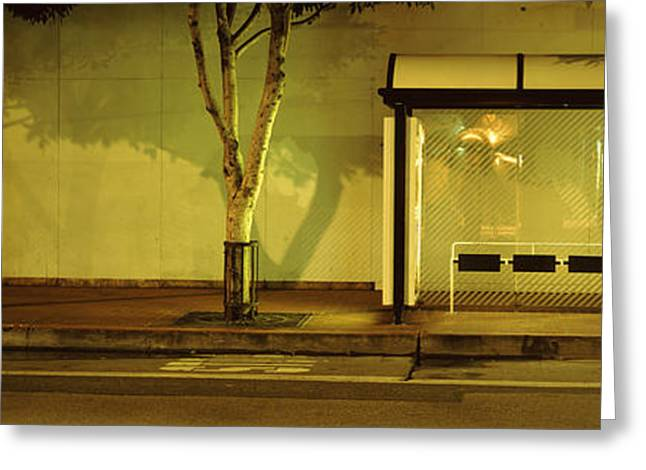 Bus Stop Greeting Cards - Bus Stop At Night, San Francisco Greeting Card by Panoramic Images