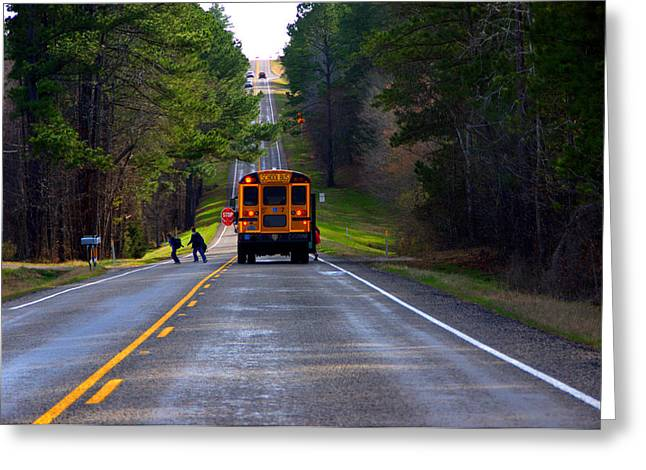 Rural School Bus Greeting Cards - Bus Stop Greeting Card by Darrell Clakley