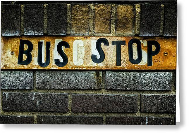 Busstop Greeting Cards - Bus Stop Greeting Card by Jeff Burton