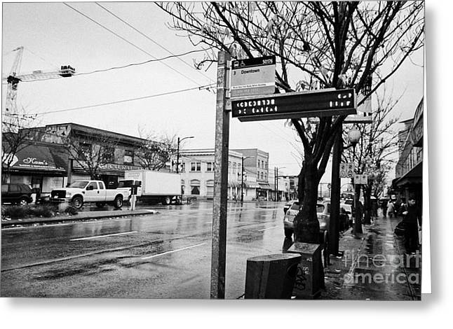 Busstop Greeting Cards - bus stop on main street heading downtown from mount pleasant on a wet day Vancouver BC Canada Greeting Card by Joe Fox