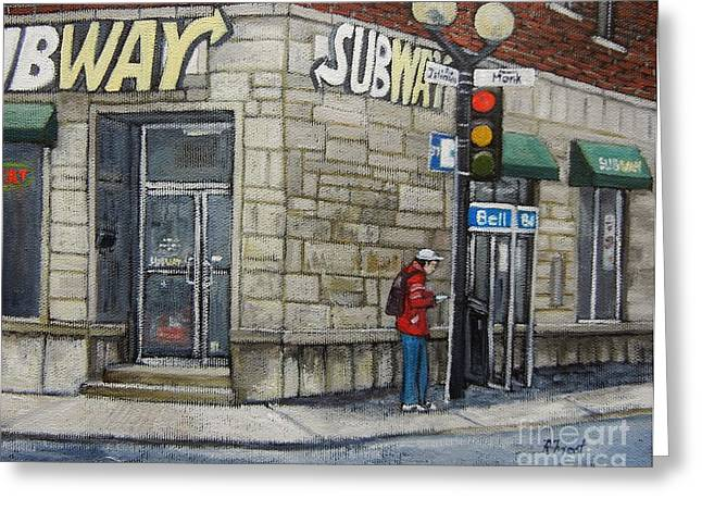 City Of Montreal Paintings Greeting Cards - Bus Stop on Monk Greeting Card by Reb Frost