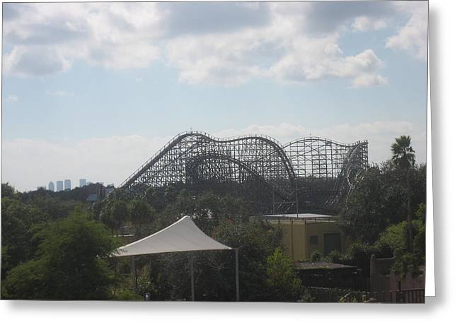 Rollercoaster Photographs Greeting Cards - Busch Gardens Tampa - 01136 Greeting Card by DC Photographer