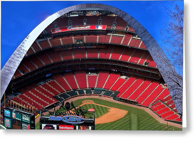 Recently Sold -  - Merging Greeting Cards - Busch Stadium A Zoomed View From The Arch Merged Image Greeting Card by Thomas Woolworth