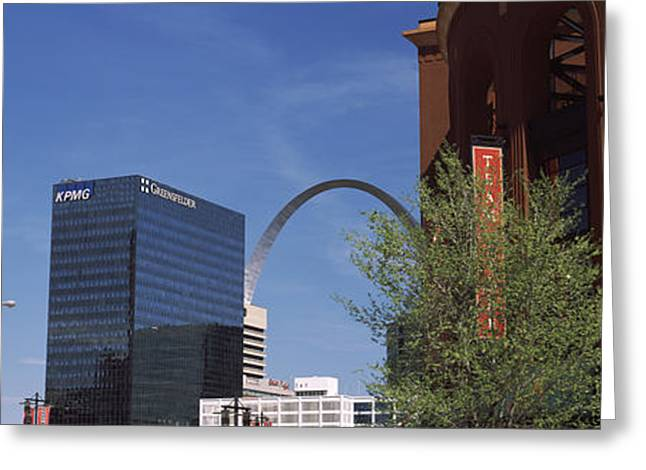 Busch Greeting Cards - Busch Stadium And Gateway Arch In St Greeting Card by Panoramic Images