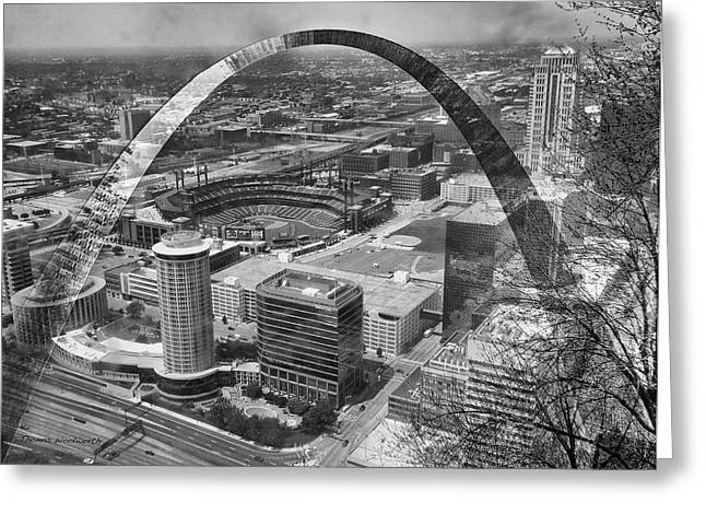 Merging Greeting Cards - Busch Stadium BW A View From The Arch Merged Image Greeting Card by Thomas Woolworth